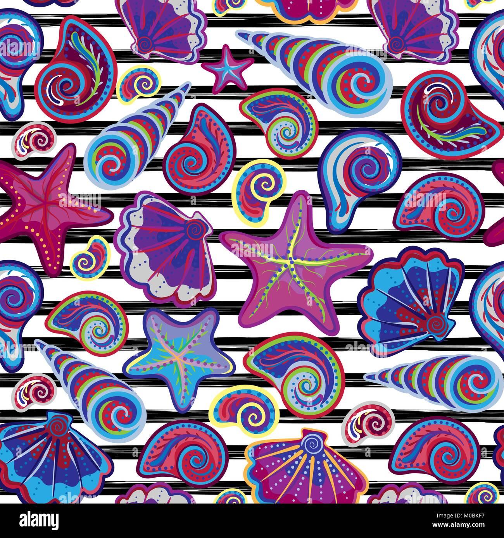 Vector Seamless Pattern Of Seashells On Striped Background Hand Drawn Vintage Engraved Illustration Ocean