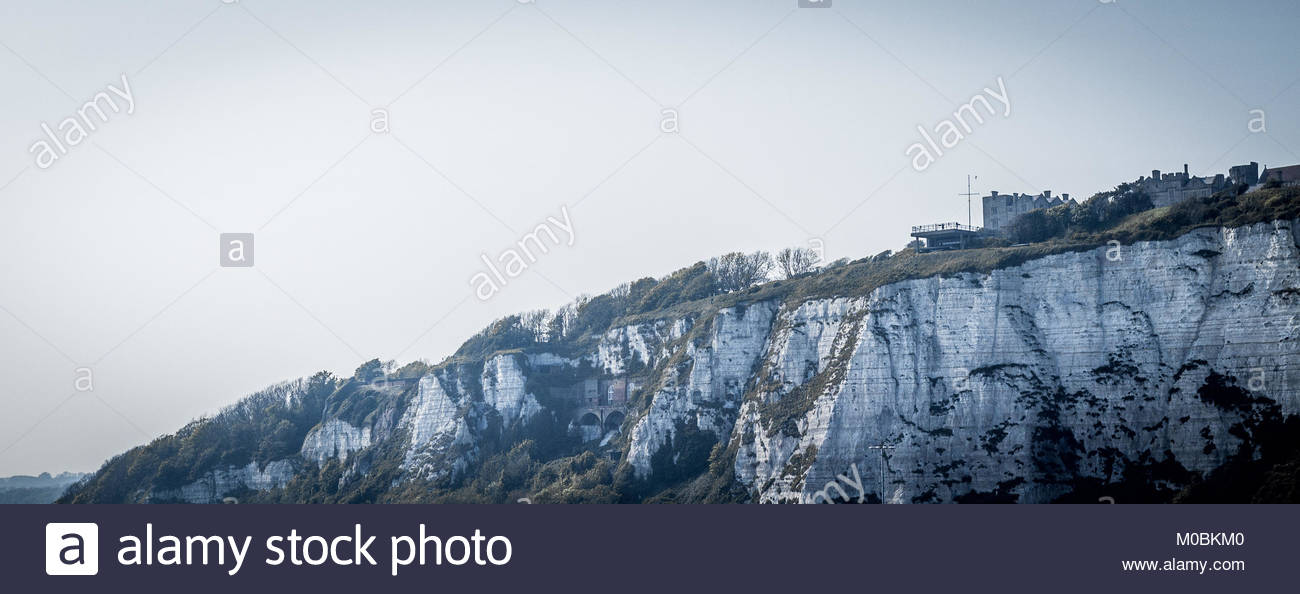 Wide Shot Approaching White Cliffs of Dover - Stock Image
