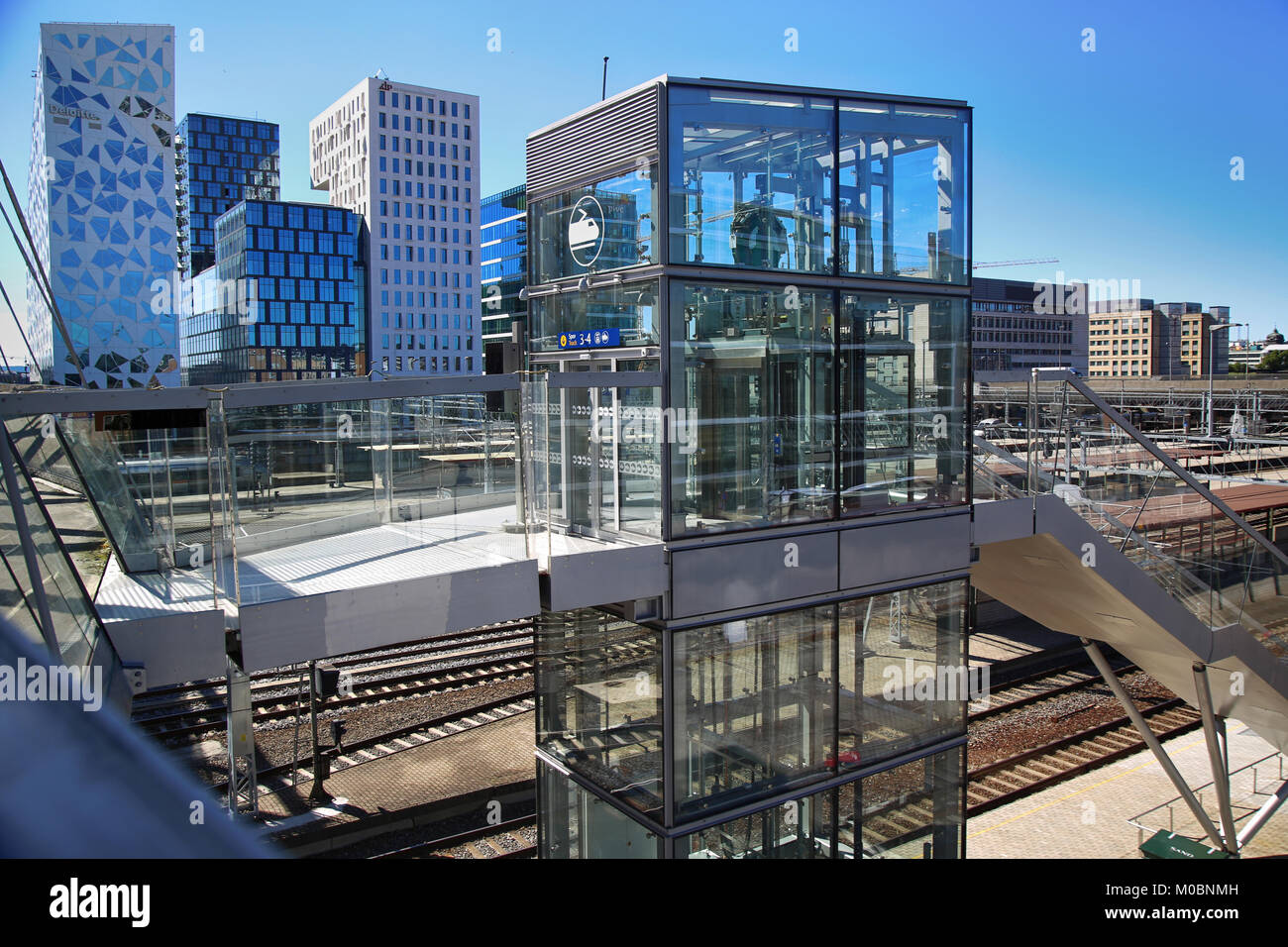 OSLO, NORWAY – AUGUST 17, 2016: View of Akrobaten pedestrian bridge  with modern business architecture and elevator Stock Photo