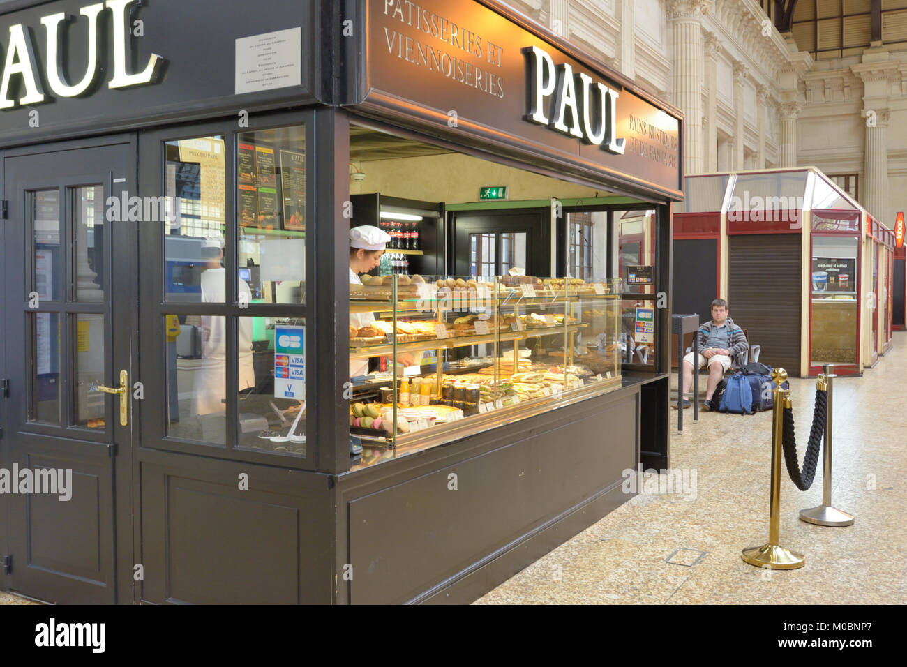 Bordeaux, France - June 27, 2013: Patisserie PAUL offers foods on the train station. Founded in 1889, now La Maison - Stock Image
