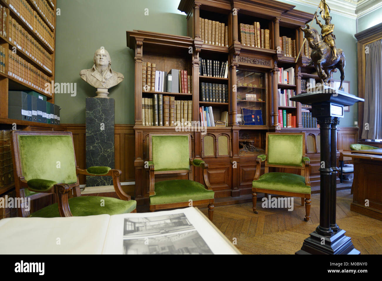Paris, France - September 14, 2013: Interior of a historical room in the Sorbonne. Found in XIII century as the Stock Photo