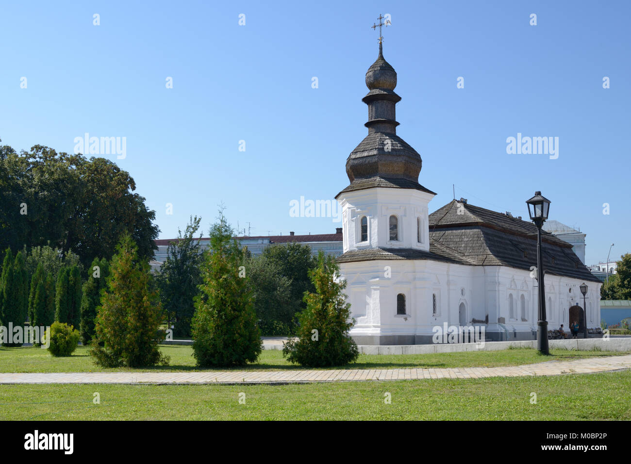 Kiev, Ukraine - August 20, 2013: Refectory with the church of St. John the Divine in St. Michael's Golden-Domed - Stock Image