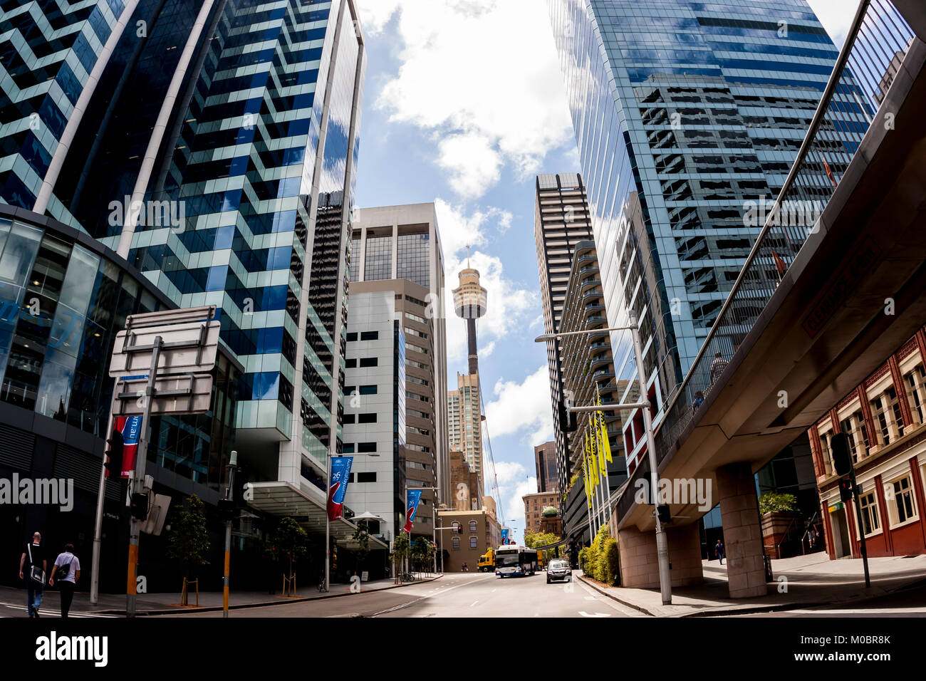 Sydney, Australia. Famous Sydney Tower Eye, known as Westfield Tower, between skyscrapers at Sydney street. - Stock Image