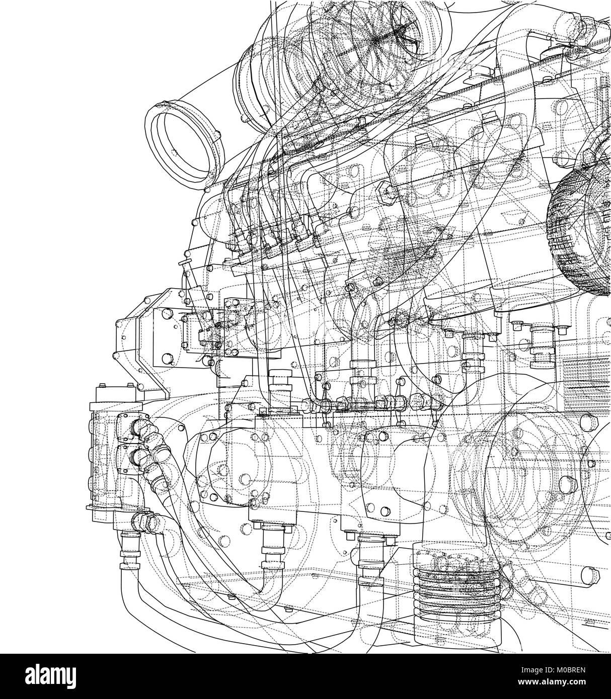 Car engine. Vector rendering of 3d Stock Vector Art & Illustration ...