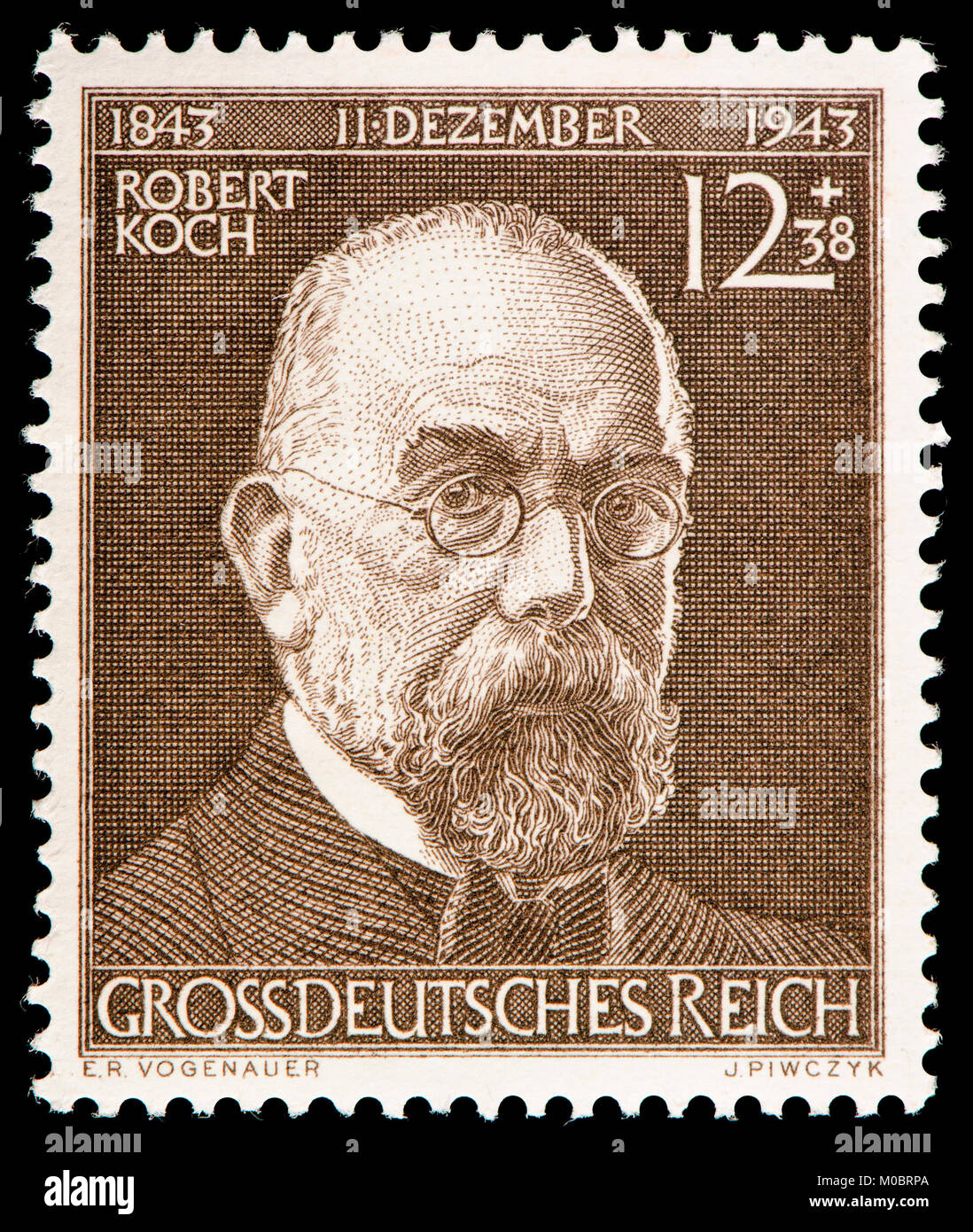 German postage stamp (1944) : Robert Heinrich Hermann Koch (1843 – 1910) German physician and microbiologist. - Stock Image