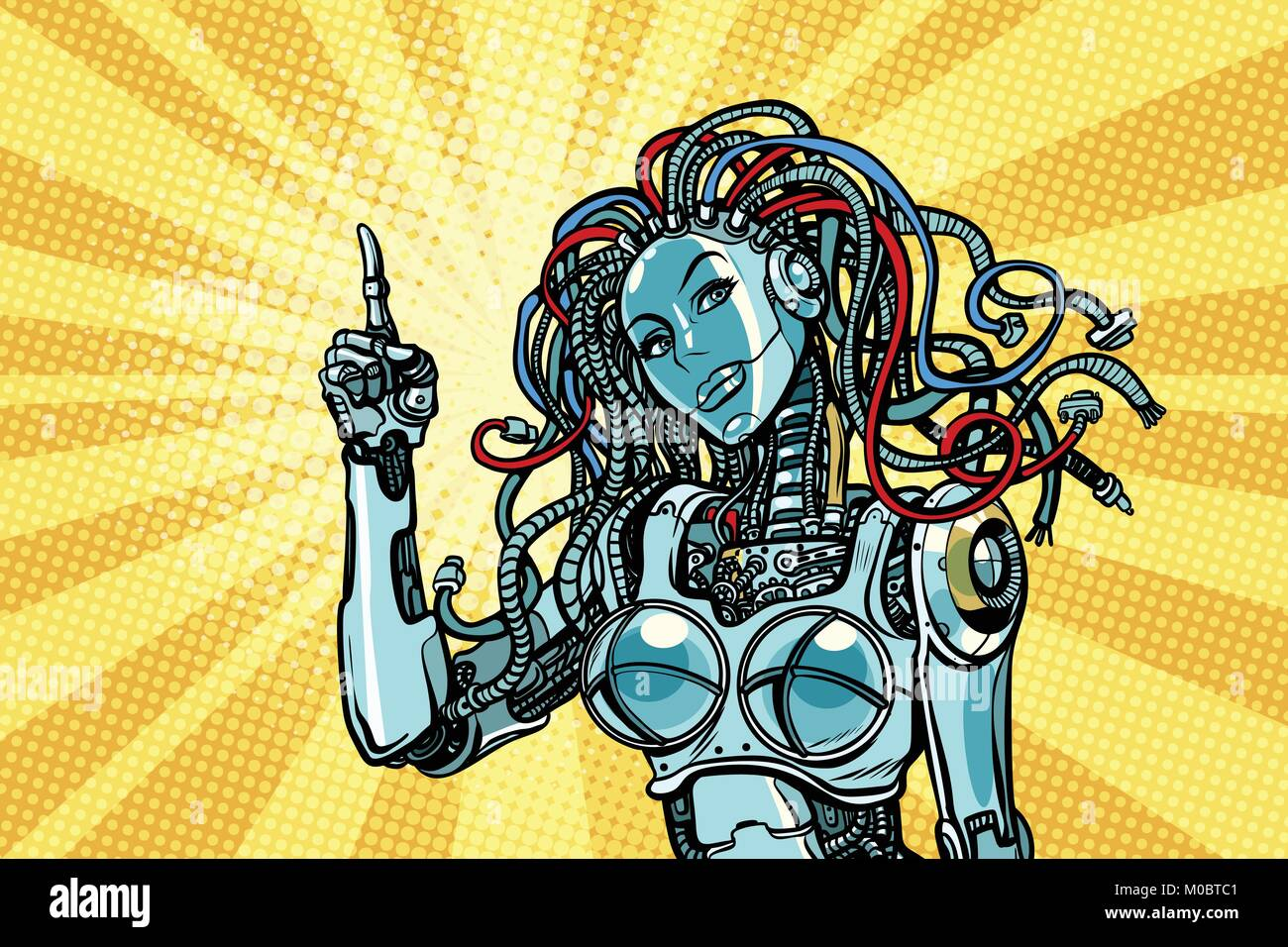 female robot indicates Stock Vector