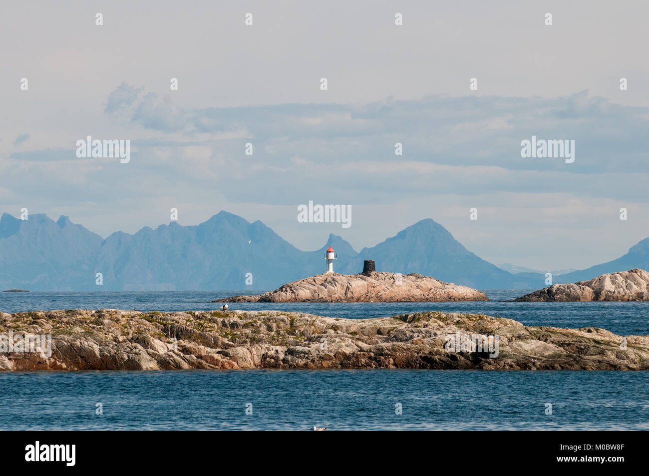 Coast landscape at Henningsvaer on Lofoten islands in northern Norway. - Stock Image