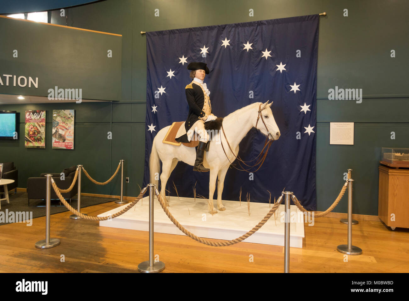 Model of General George Washington on his horse Blueskin, Visitor Center at Valley Forge National Historical Park, - Stock Image