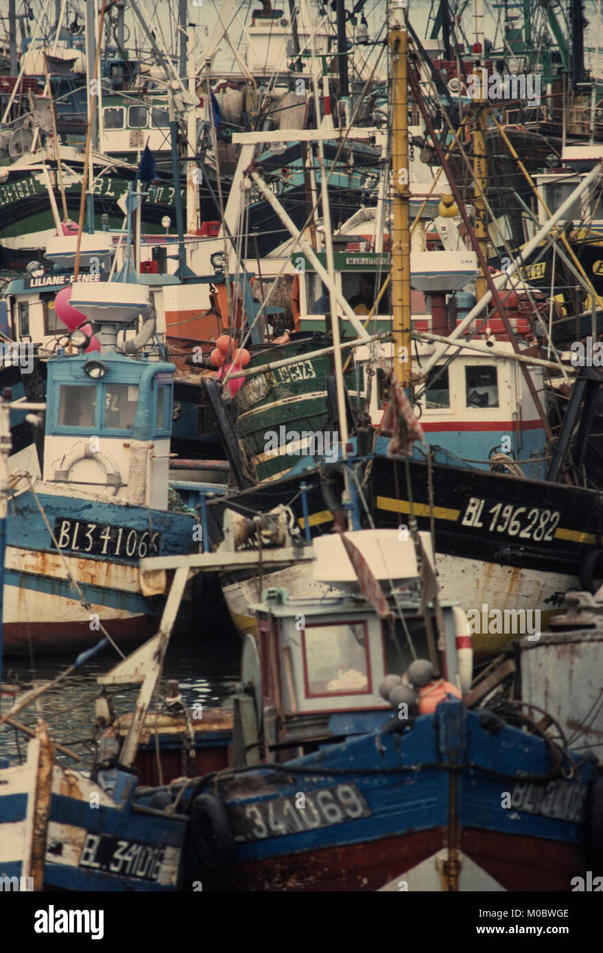 Boulogne Harbour fishing fleet, Boulogne,Pas de Calais, France. 1990 - Stock Image