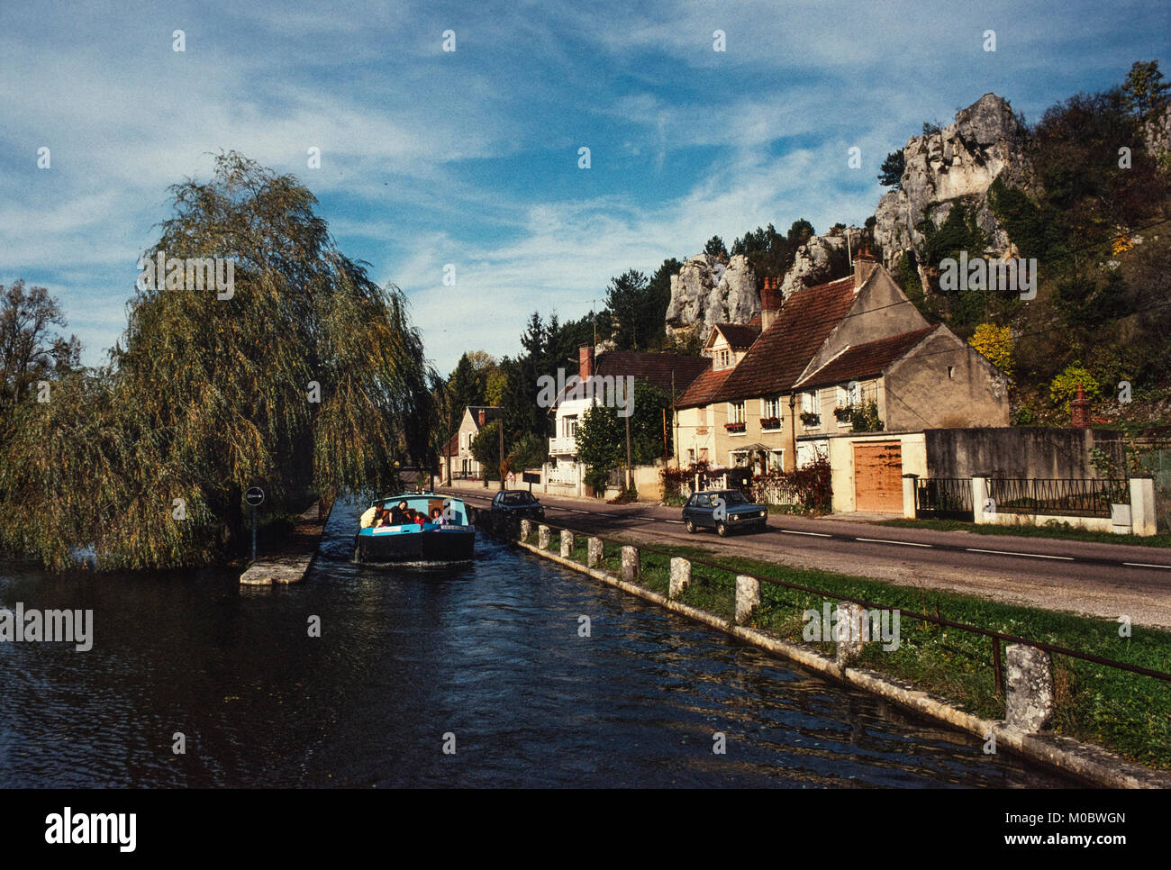 Canal du Nivernais France. The Canal du Nivernais links the Loire with the Seine following approximately the course - Stock Image