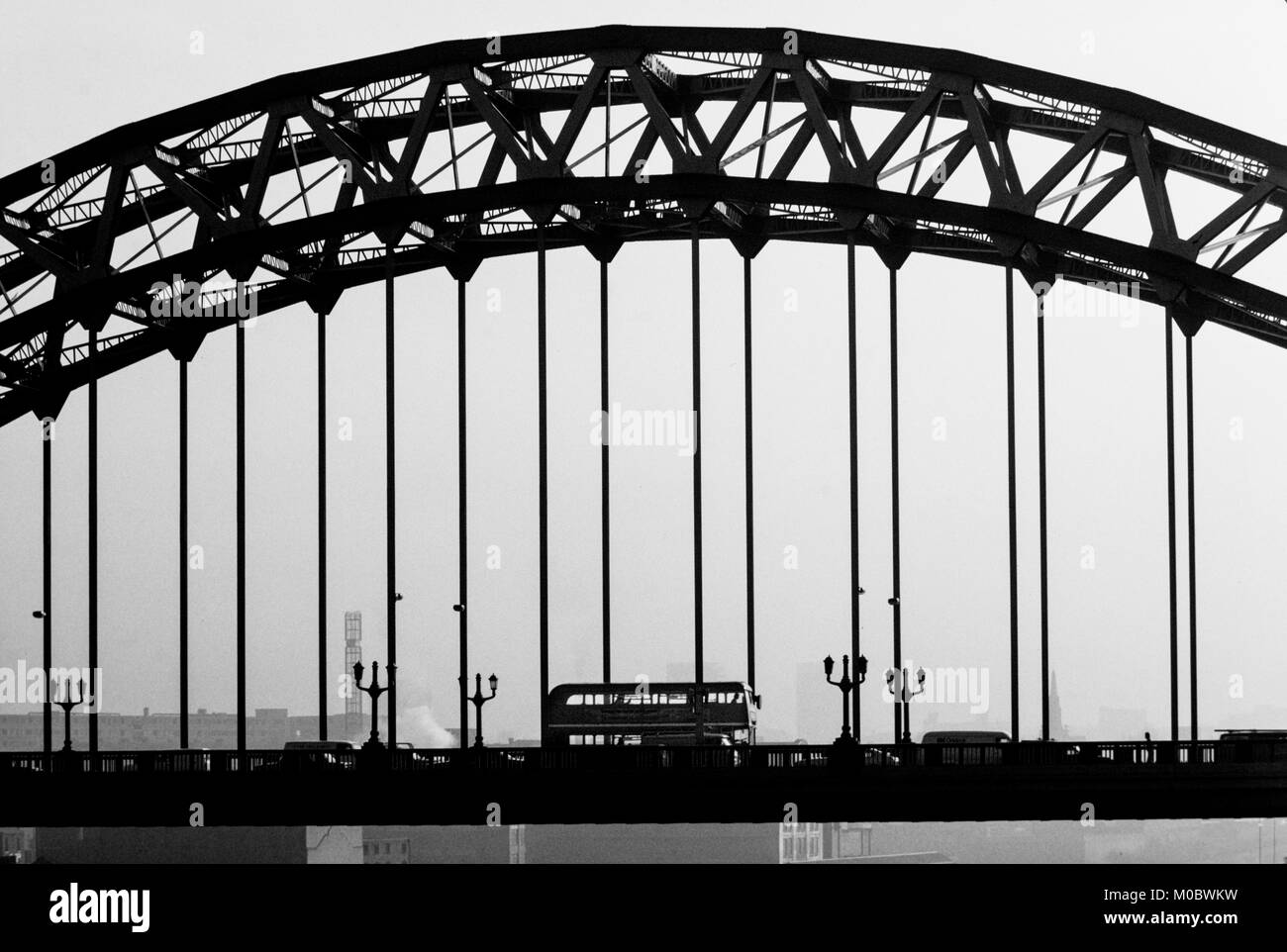 Newcastle upon Tyne,Tyne and Wear, England, UK. 1985 Tyne Bridge across the River Tyne - Stock Image