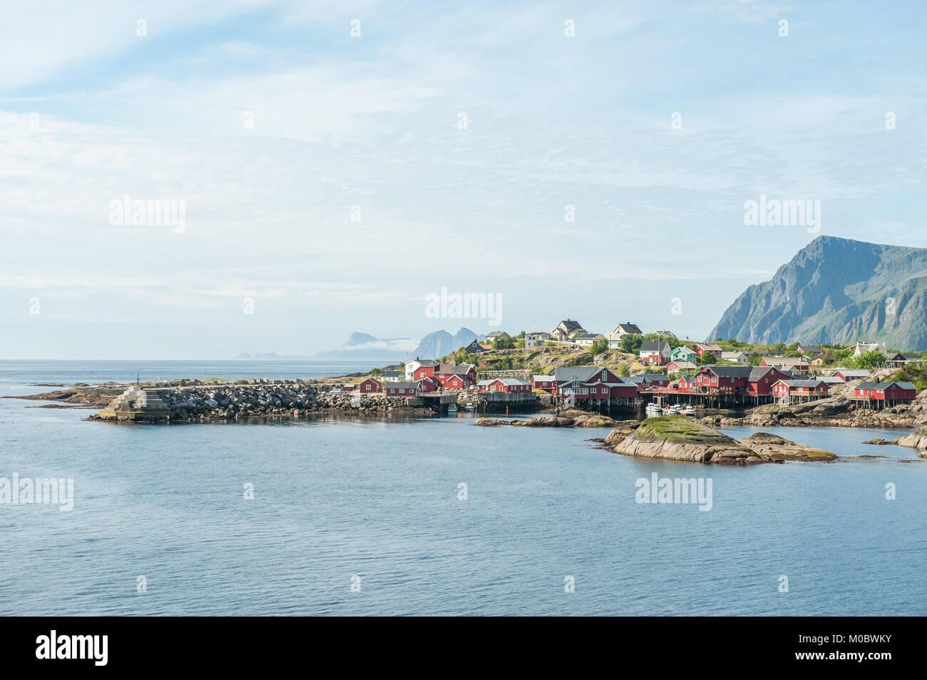 View towards Å on Lofoten islands. Å is a small fishing village that features the Lofoten Stockfish museum. - Stock Image