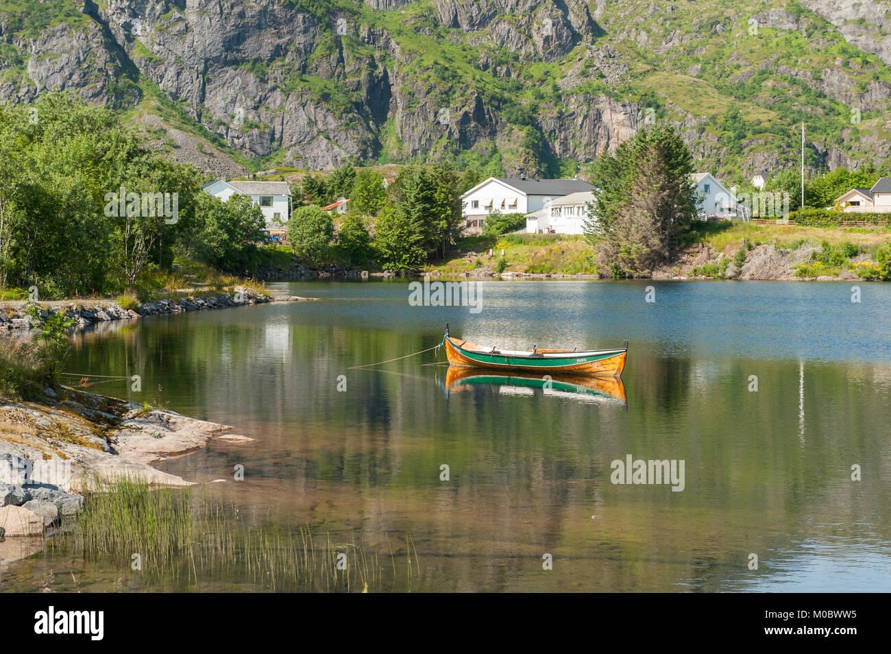 Summer landscape at Sorvagen on Lofoten islands in northern Norway - Stock Image