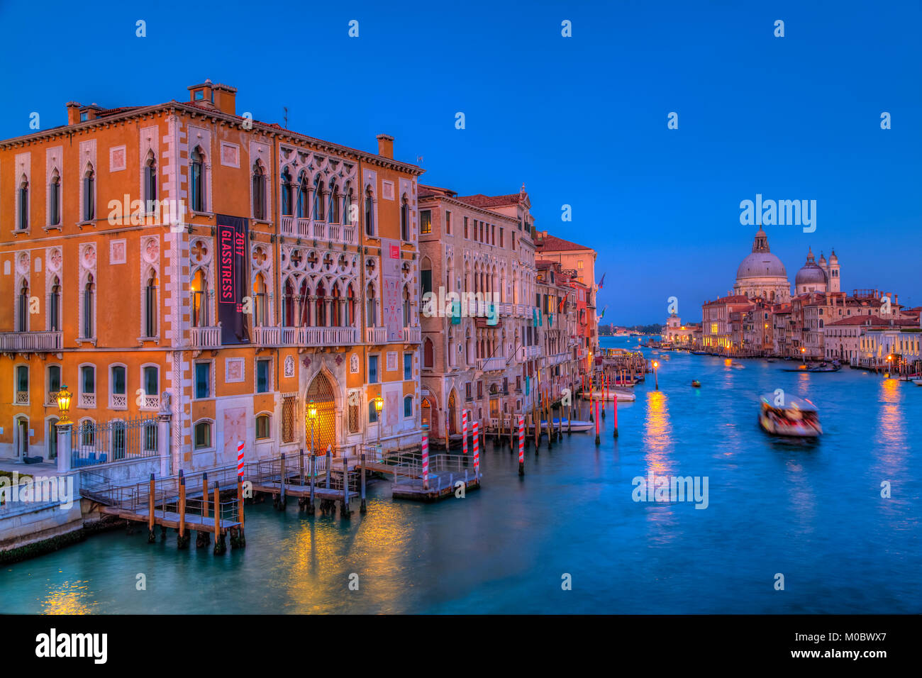 An evening view of the Grand Canal, Veneto, Venice, Italy, Europe. - Stock Image