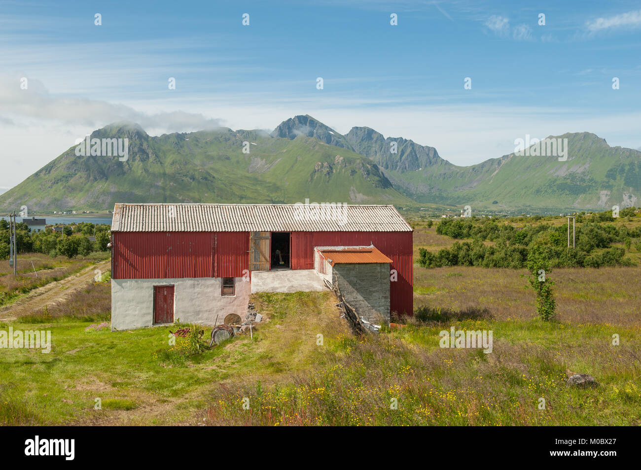 Traditional barn in the countryside of Lofoten islands in northern Norway - Stock Image