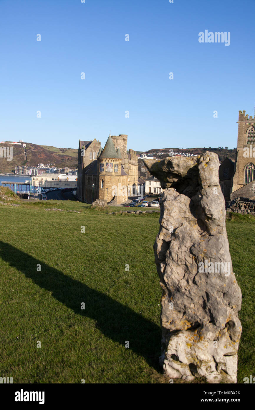 Town of Aberystwyth, Wales. Picturesque view of one of the 13 standing stones located in the inner ward of Aberystwyth - Stock Image
