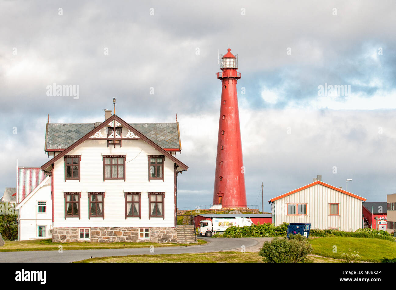 Andenes Lighthouse during summer in Lofoten. The 40 meter tall iconic lighthouse from 1859 is the most visited in Stock Photo