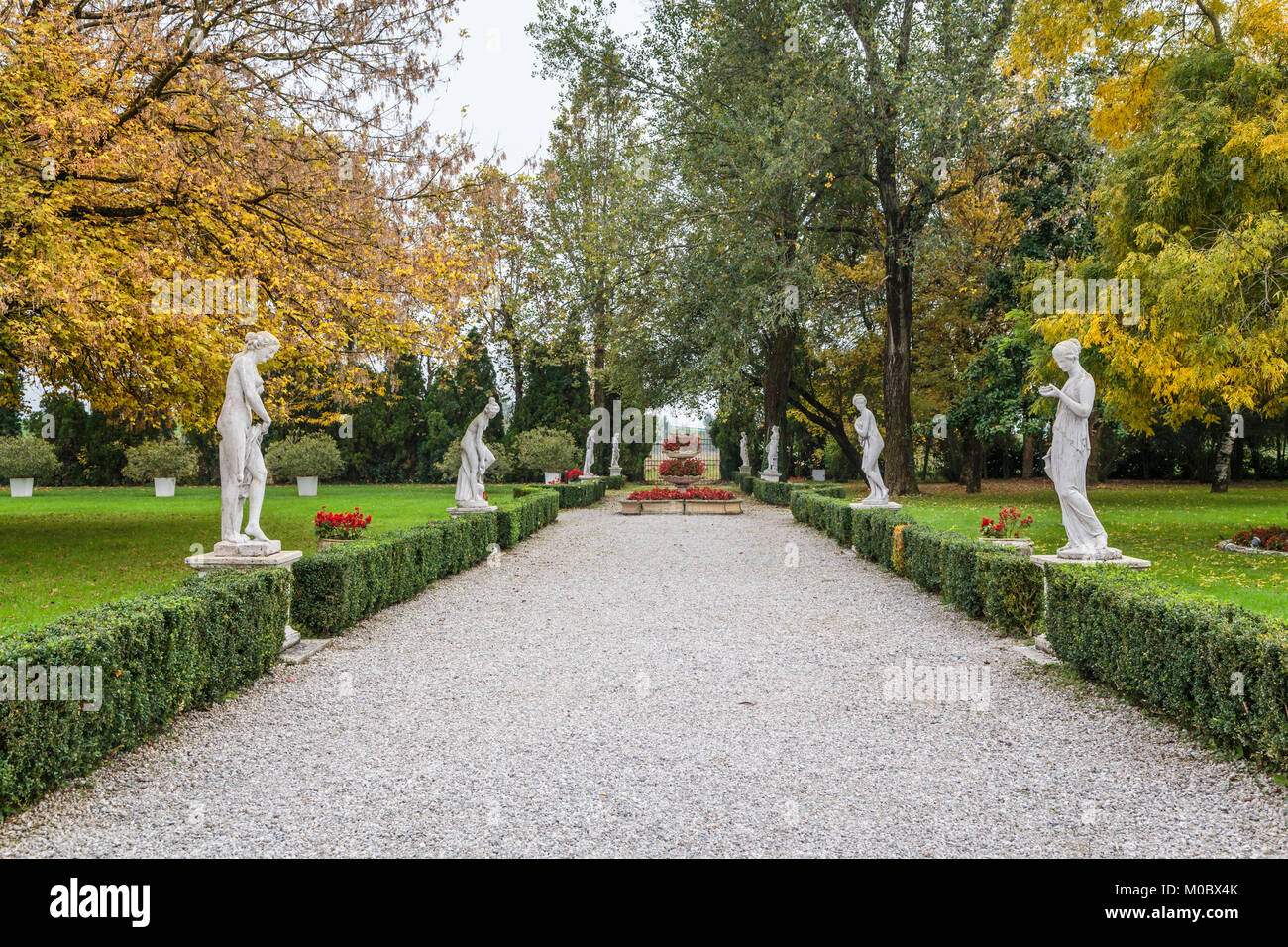 Fal foliage in the gardens of the Villa Braida Hotel in Veneto, Mogliano, Venice, Italy, Europe. Stock Photo