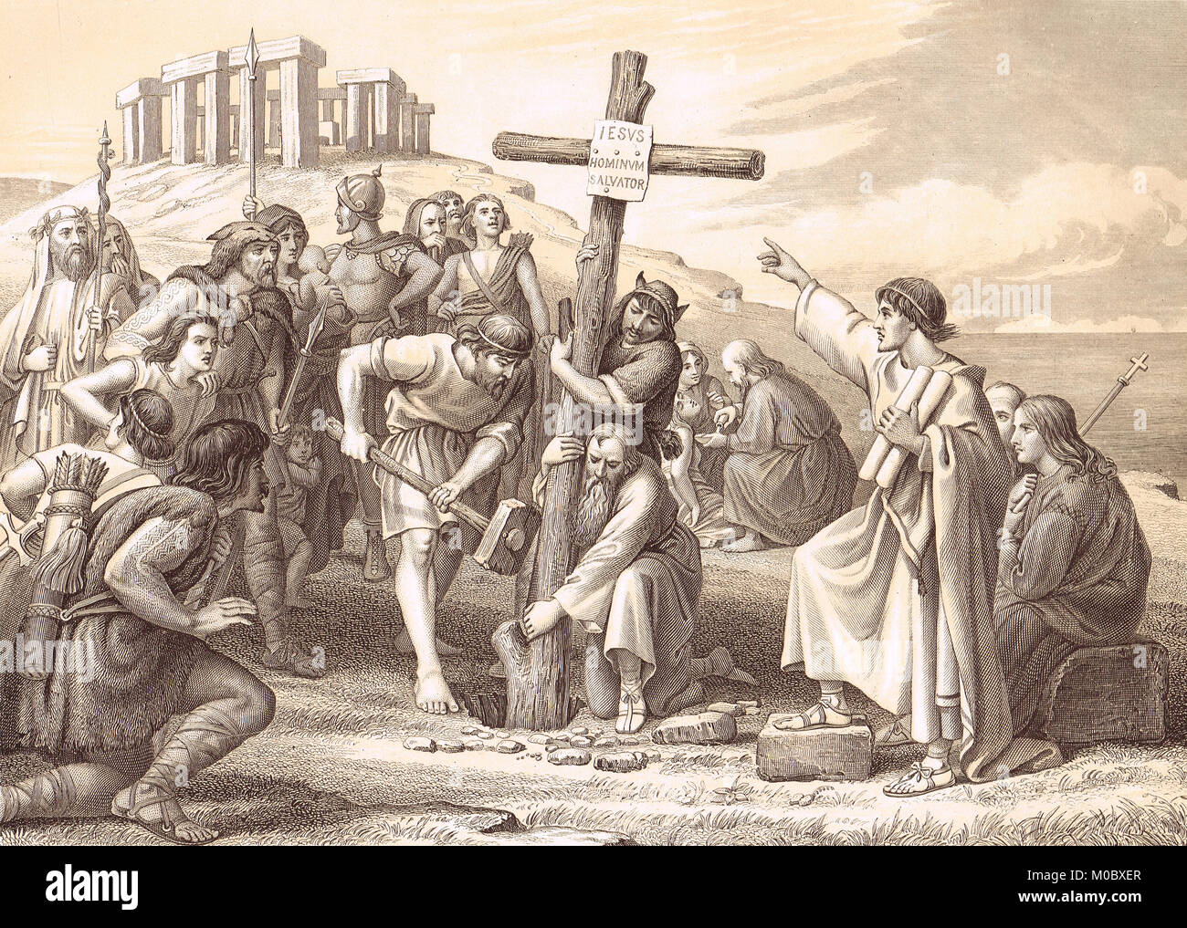 The first preaching of Christianity in Britain, 6th century - Stock Image