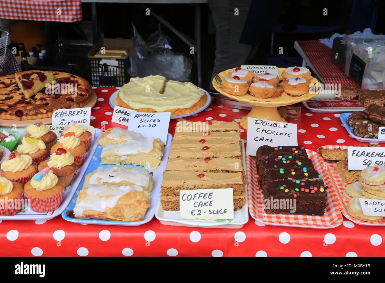 selection of sweet cakes, buns, farmers market, wild atlantic way, county kerry, ireland - Stock Image