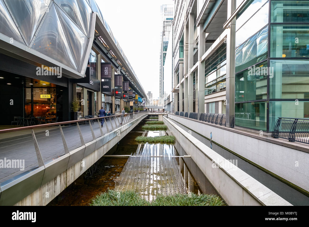 London, UK - November 25, 2017 - Restaurants and shops at Crossrail Place in Canary Wharf - Stock Image