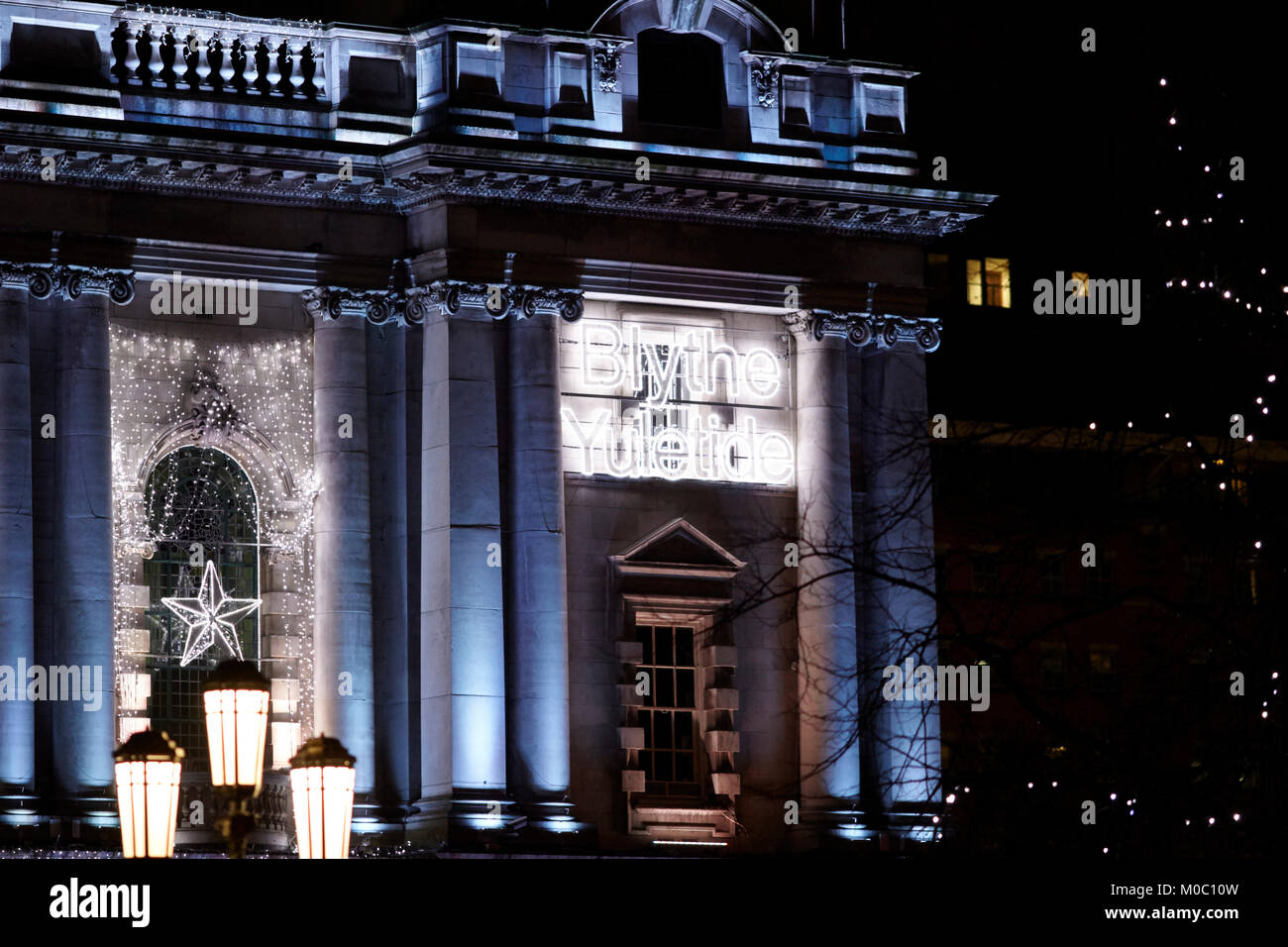 blythe yuletide ulster scots language happy christmas low energy led christmas lighting on belfast city hall northern - Stock Image