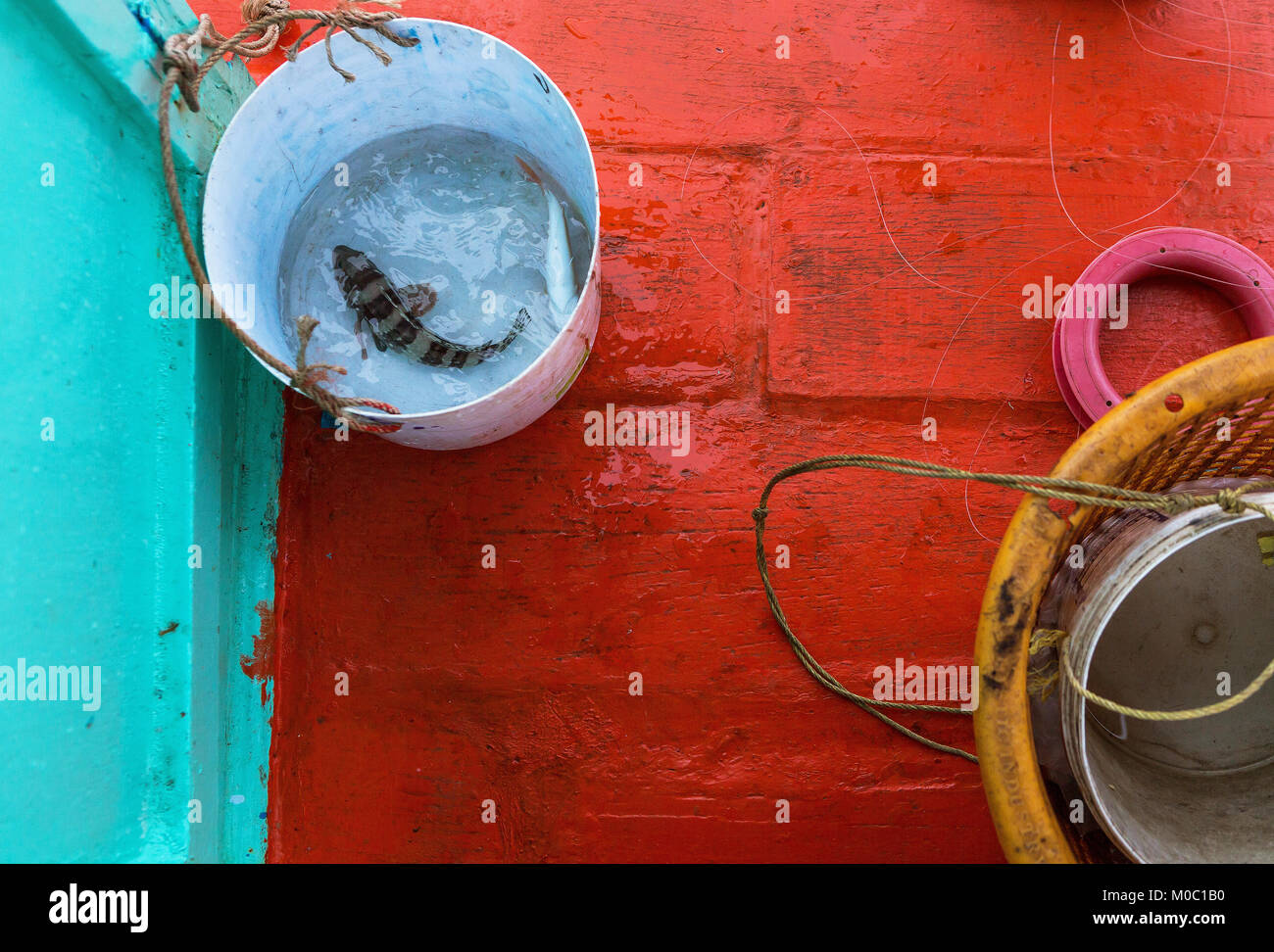 colorful abstract art of fishing gear on the boat - Stock Image