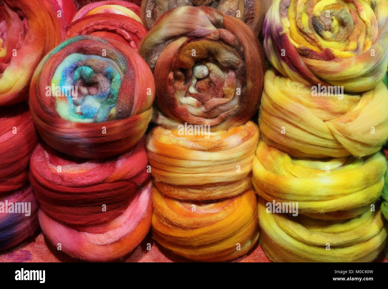 colorful backgrounds of many soft wool balls Stock Photo