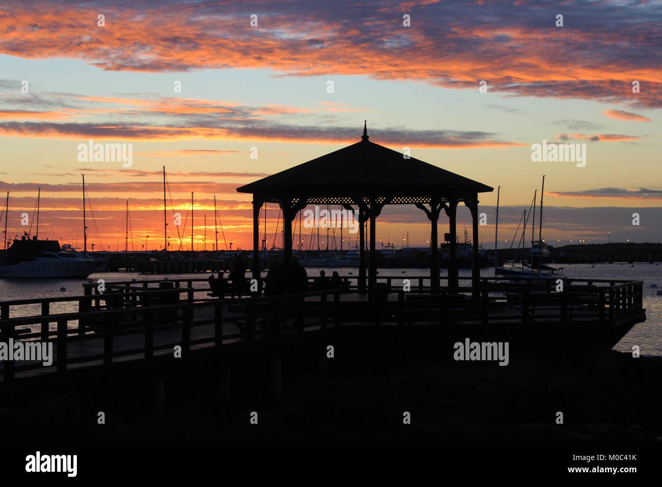 Lovely sunset at Punta del Este, Uruguay. - Stock Image