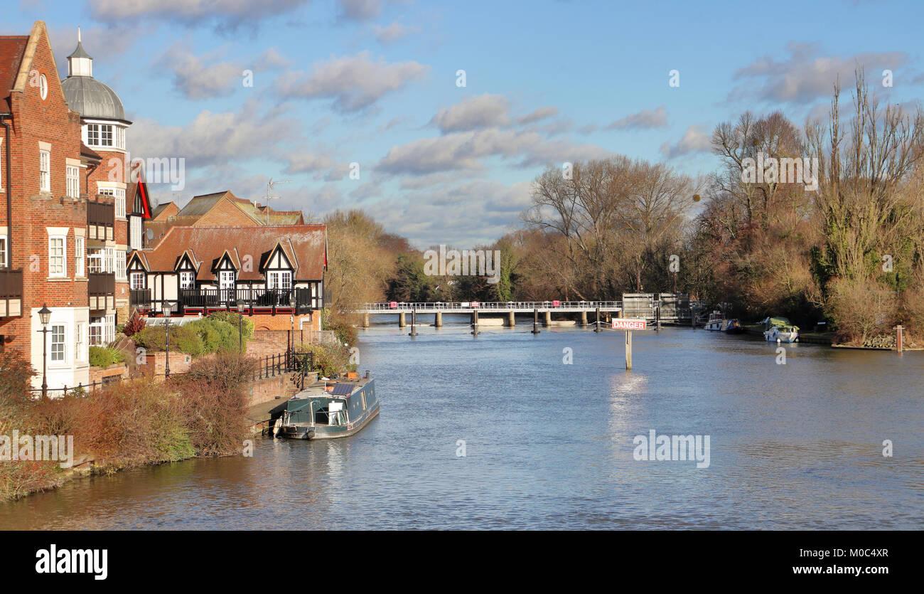 River Thames viewed from Windsor & Eton Bridge in Royal Berkshire - Stock Image