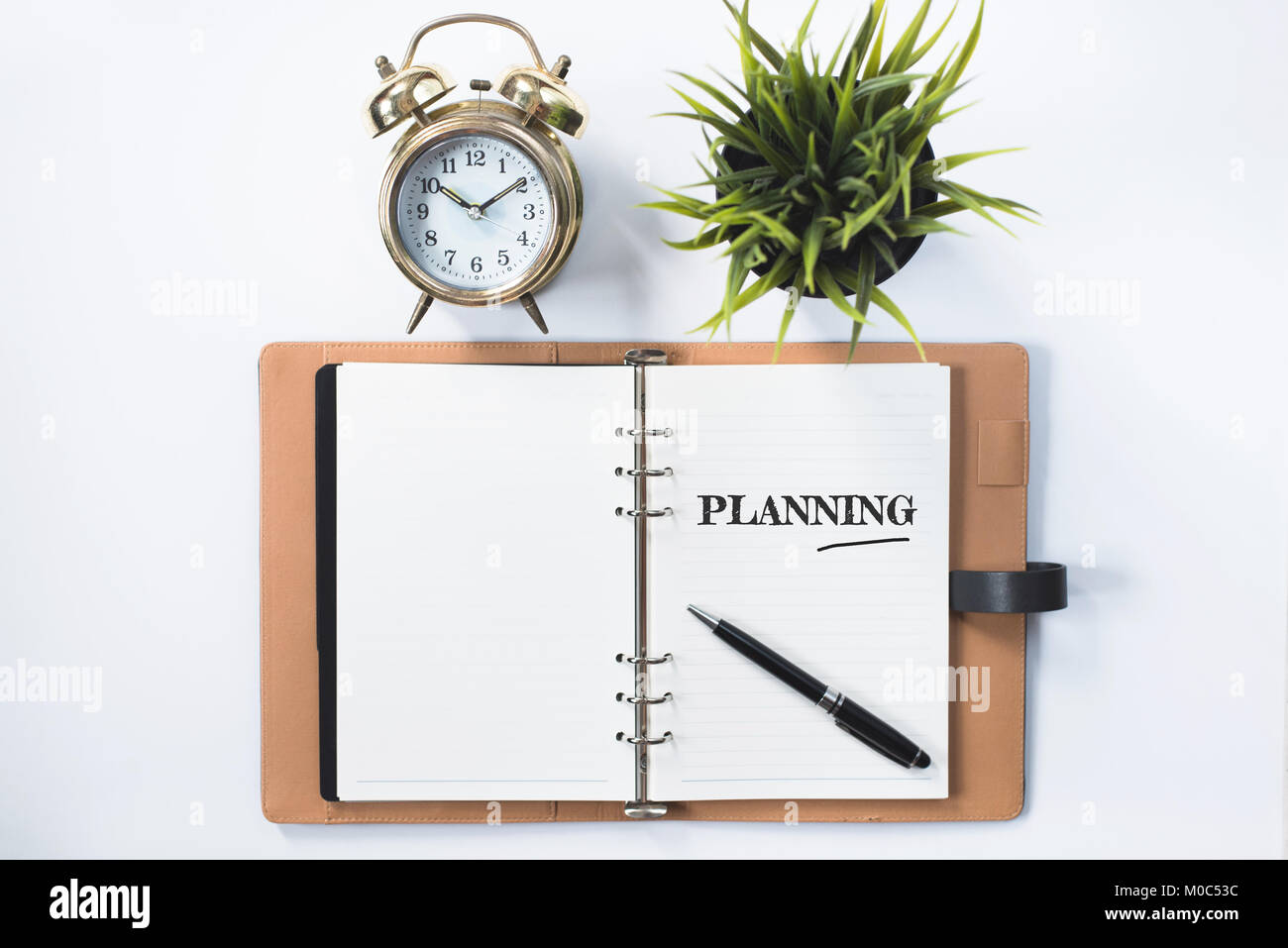 clock, green plant and blank notebook with PLANNING word. planning concept - Stock Image