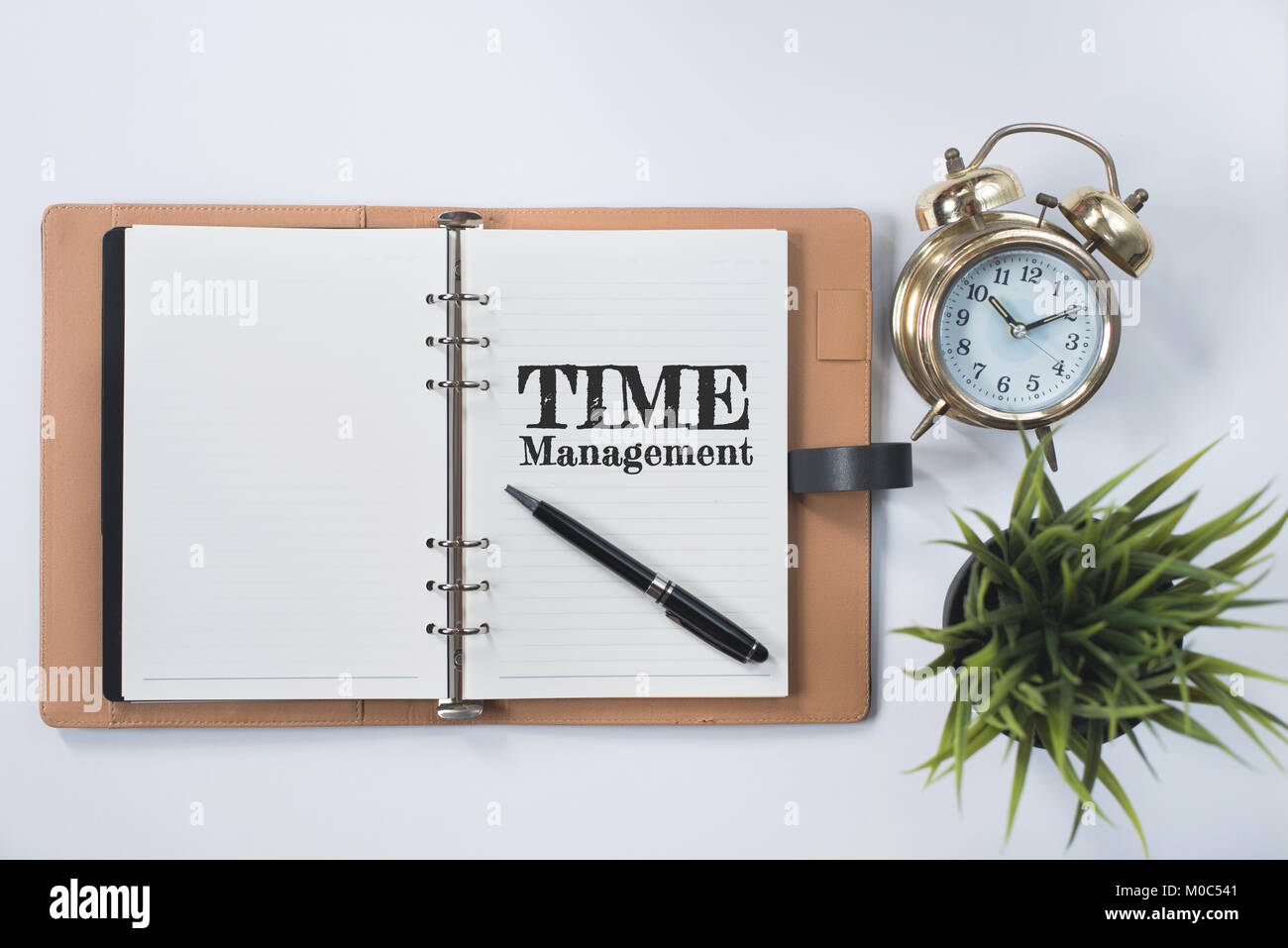 golden bell clock, green plant and blank notebook with TIME MANAGEMENT word on white flat lay. time management concept - Stock Image