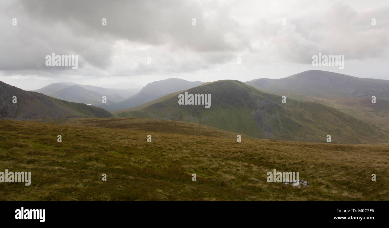 View of the Snowdonia Mountains in Wales, Snowdonia National Park Stock Photo