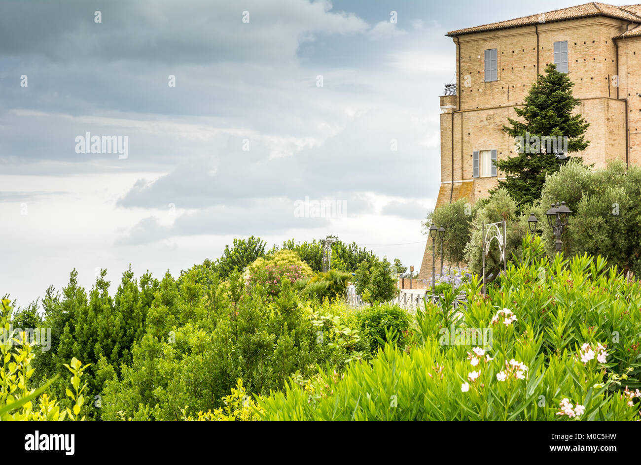 Sanctuary of the Holy House of Loreto, Marches, Italy. View of the Apostolic Palace and the garden - Stock Image