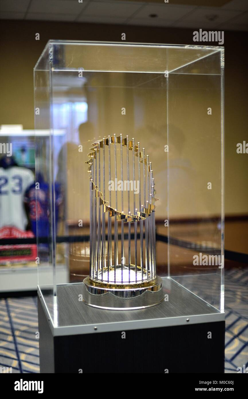 b806a4c75be The 2016 World Series Championship trophy on display for fans at the annual  Chicago Cubs Convention