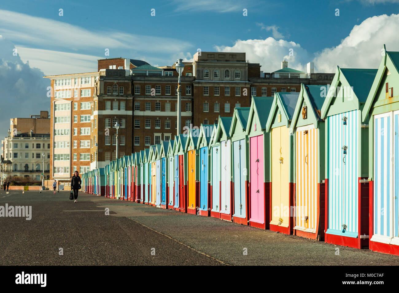 Colour beach huts on Brighton seafront, England. - Stock Image