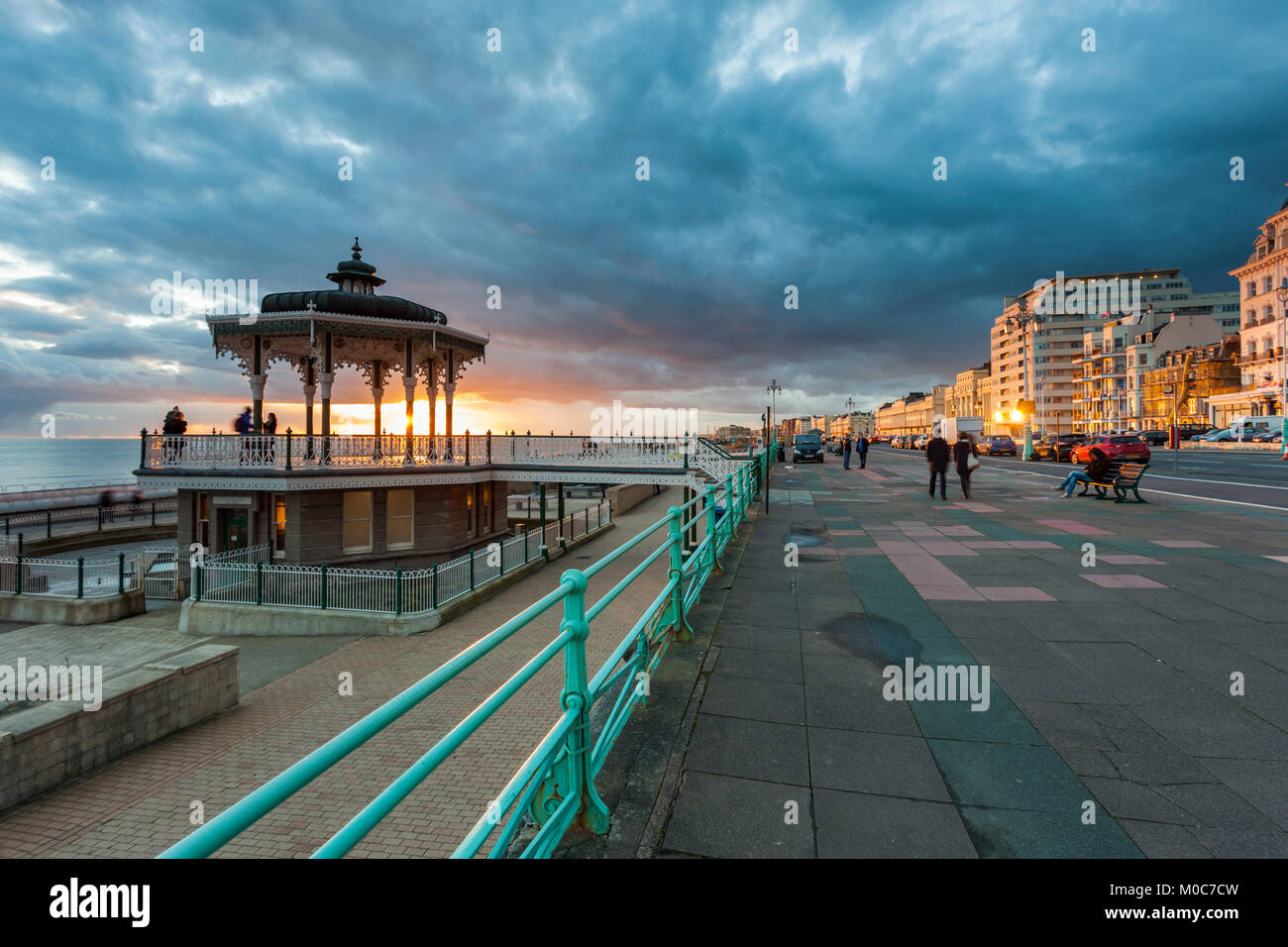 Sunset at the Bandstand at Brighton seafront, East Sussex, England. - Stock Image