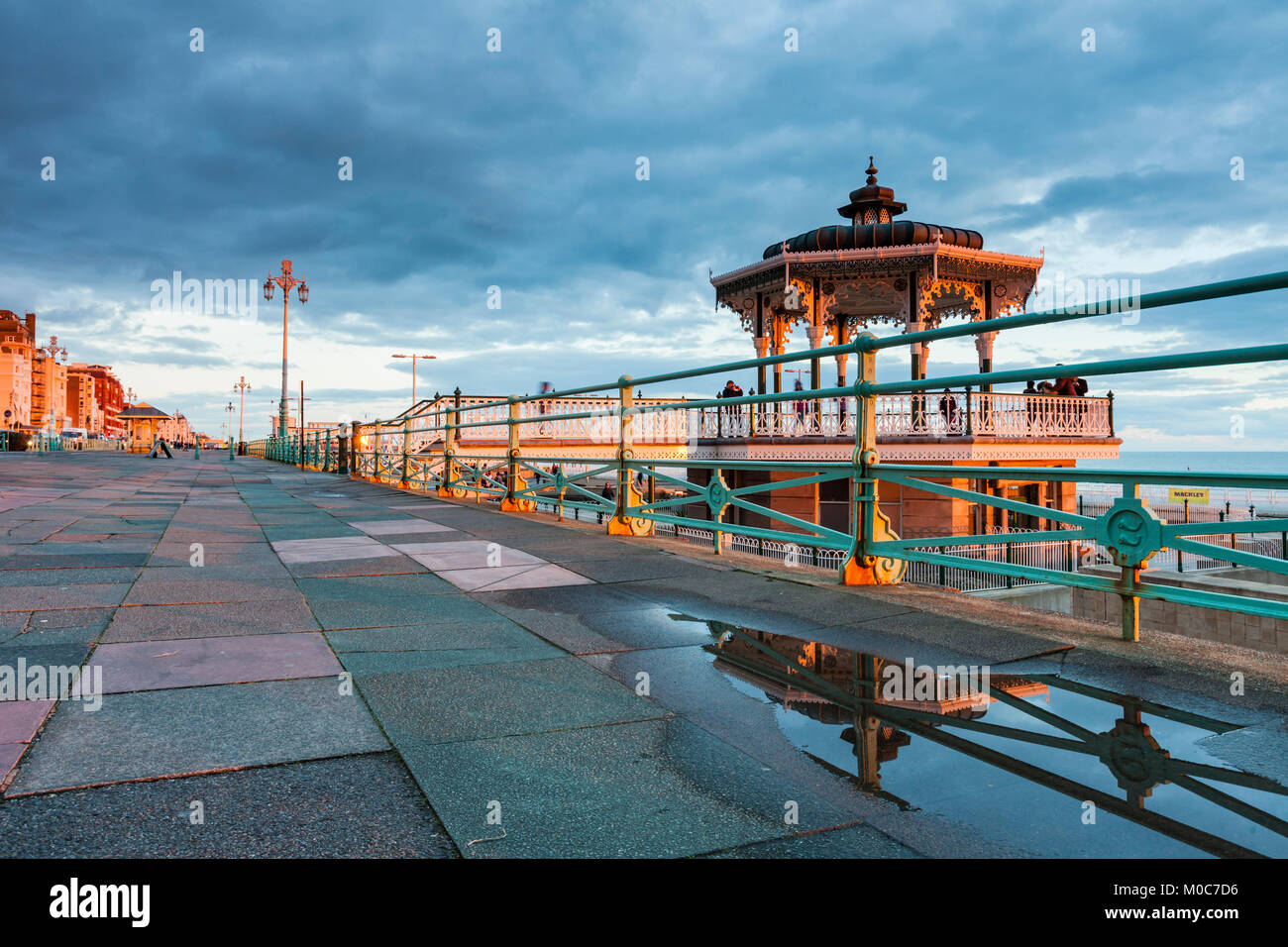 Sunset at Brighton Bandstand, East Sussex. - Stock Image