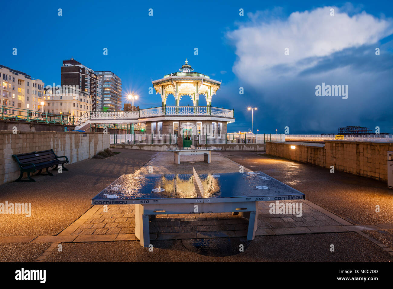 Evening at the Bandstand on Brighton seafront, East Sussex, England. Stock Photo