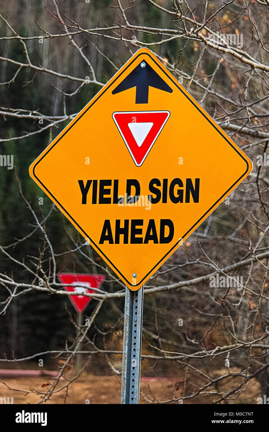 A warning Yield Sign Ahead sign in the fall - Stock Image