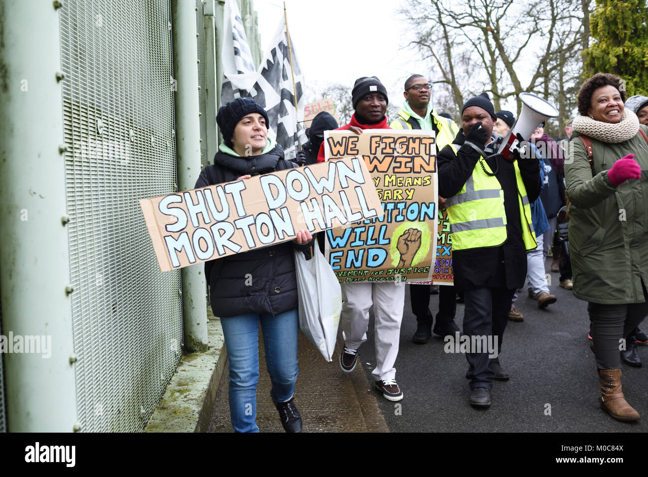 Morton Hall, Lincolnshire, UK:20th January 2018.Around eighty demonstraters held speeches calling for the closure - Stock Image