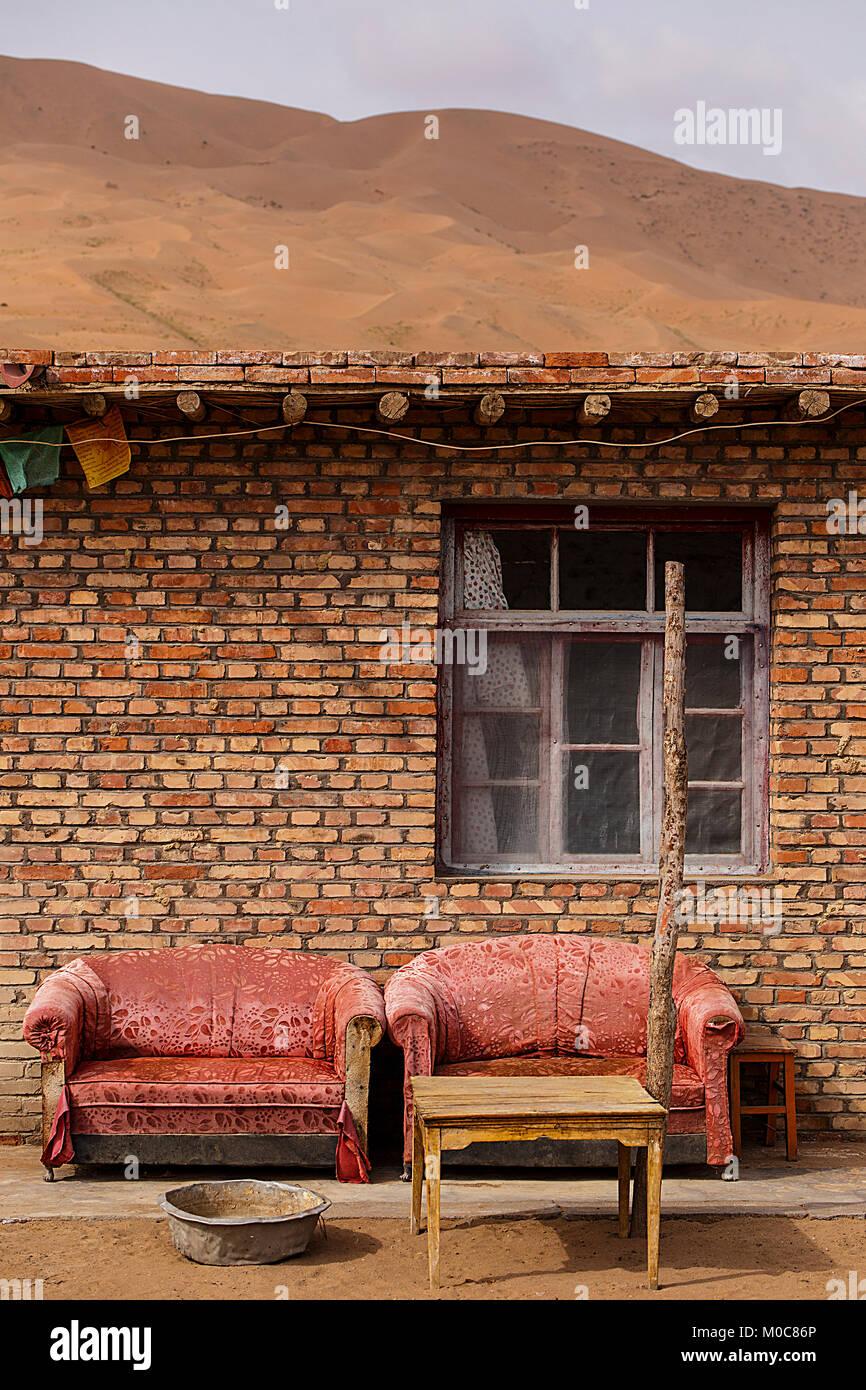 vintage sofas II, badain jaran - Stock Image