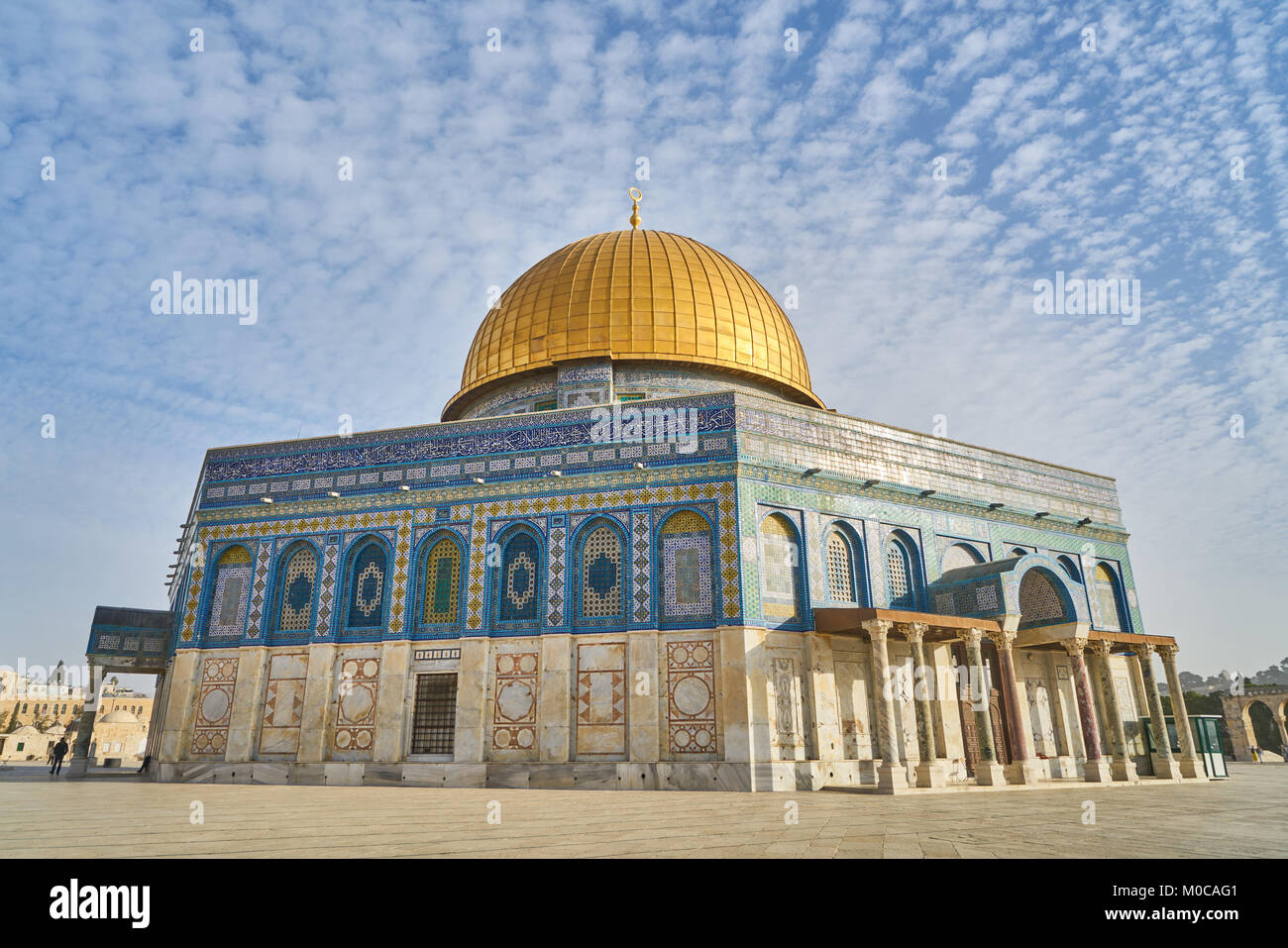 Panorama of Mosque of Al-aqsa (Dome of the Rock) on Temple Mount, Jerusalem, Israel - Stock Image