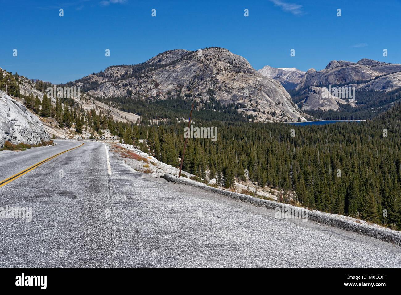 Tioga Road near Tenaya Lake in Yosemite National Park Stock Photo