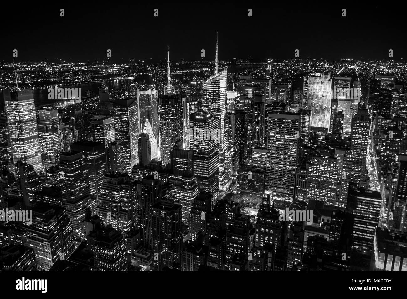 A view of New York City's skyline looking towards Time Square from the Empire State Building. - Stock Image