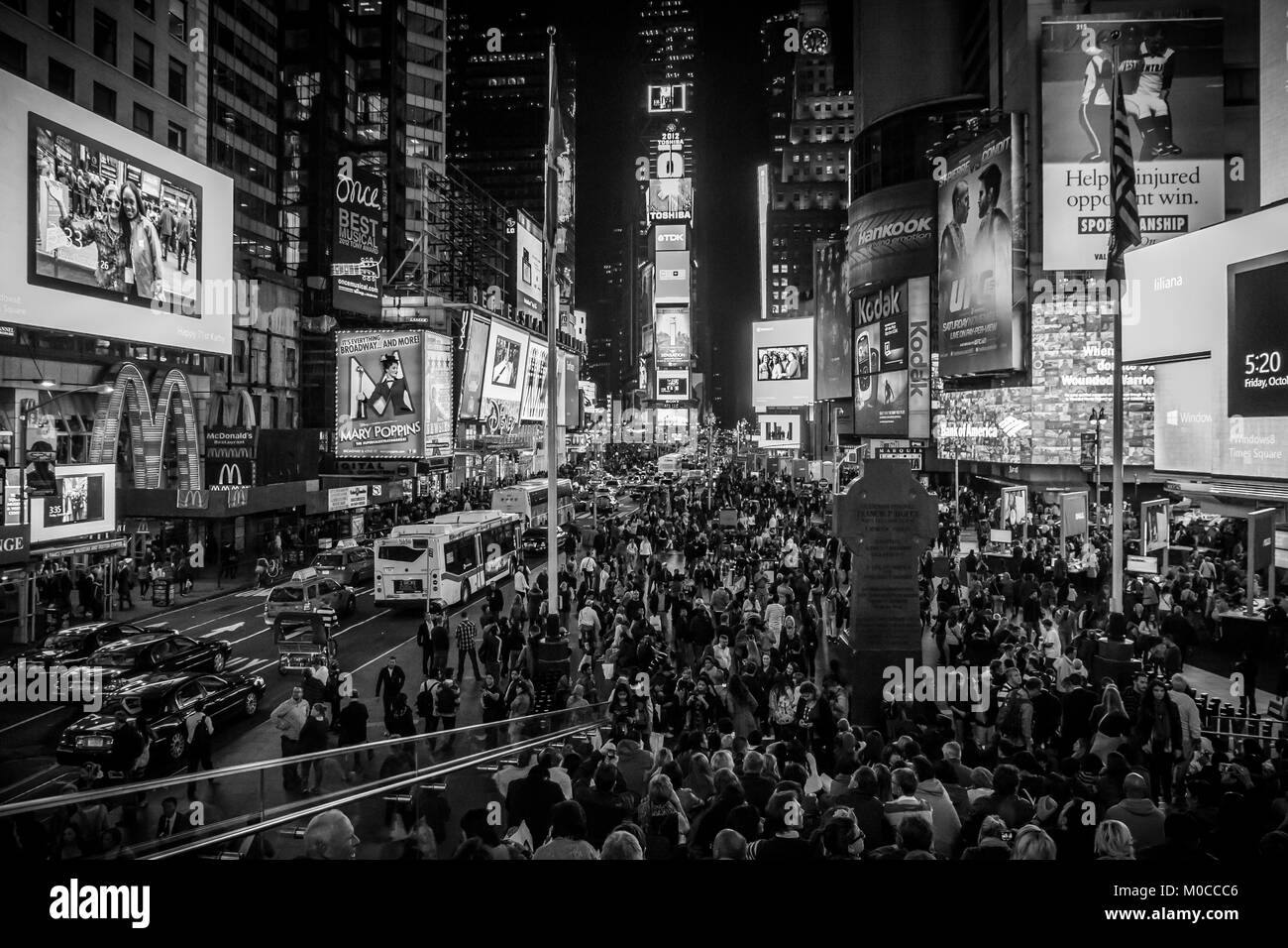 An evening shot of Time Square in New York City. Stock Photo