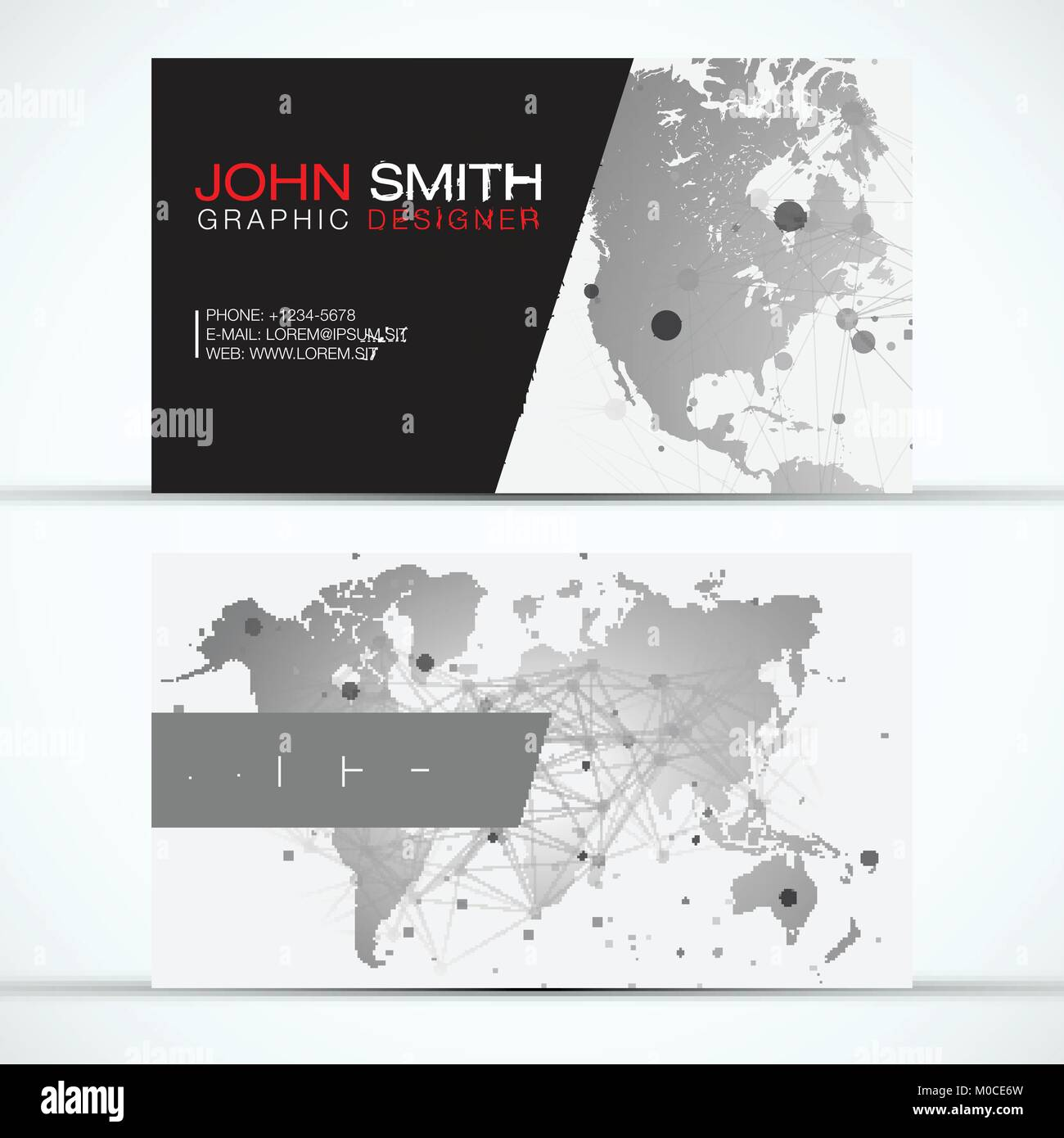 Elegant Modern Business Card Set - Grey World Map with Abstract ...