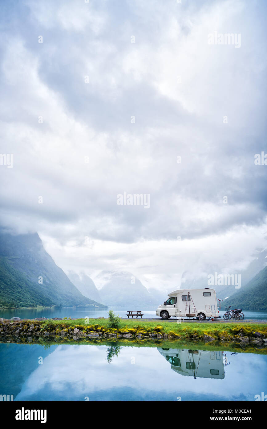 Family vacation travel RV, holiday trip in motorhome, Caravan car Vacation. Beautiful Nature Norway natural landscape. - Stock Image