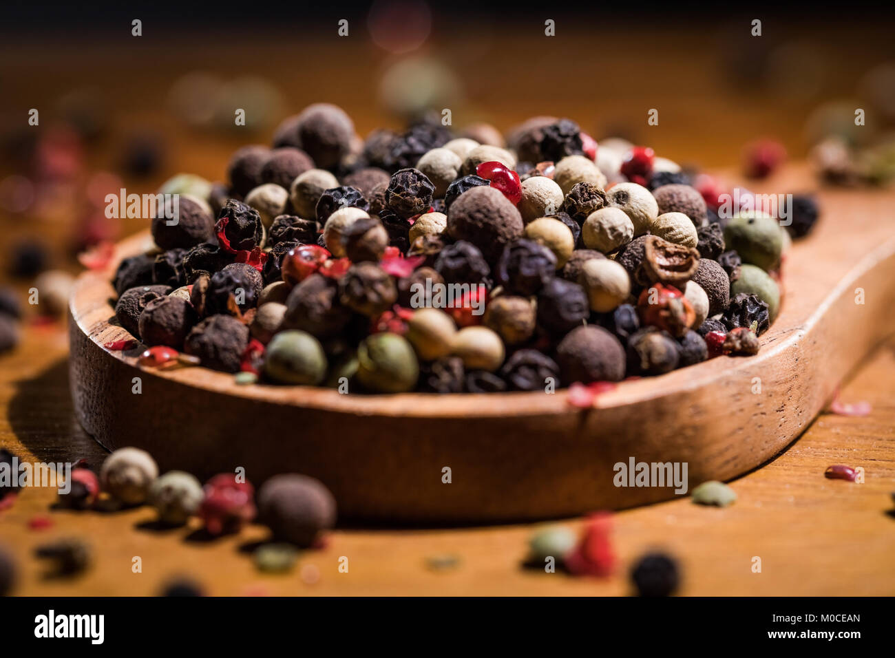 Mixed peppercorns. Dry mix peppercorns close up Stock Photo