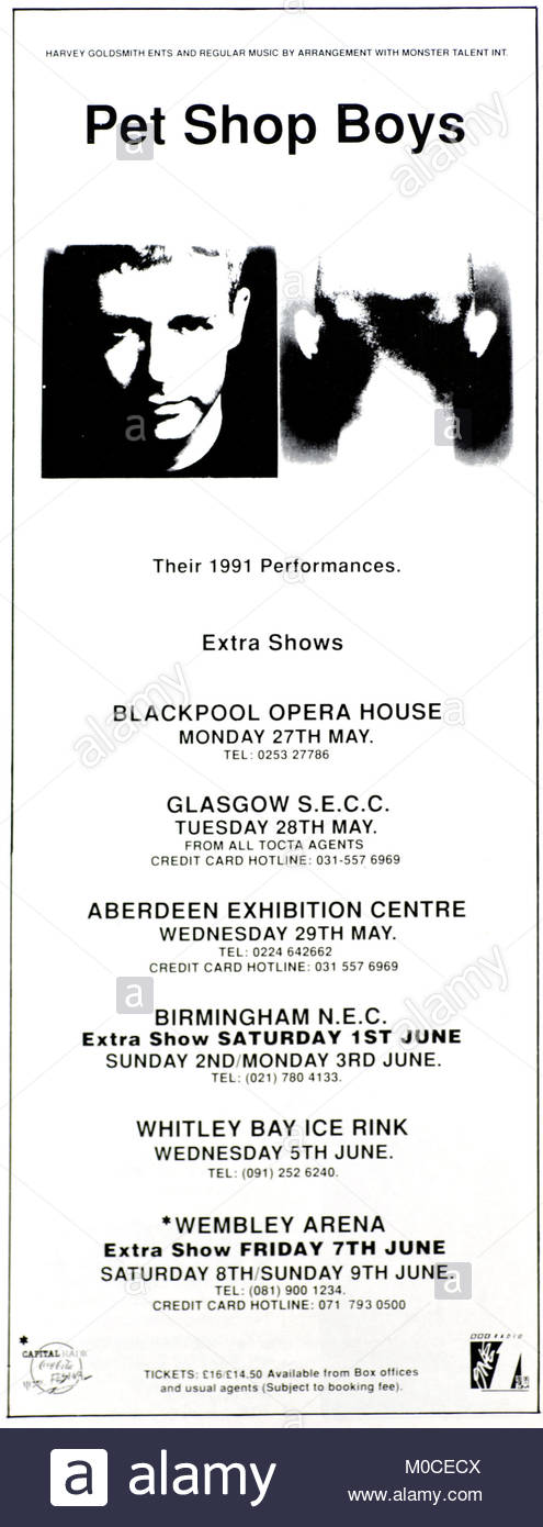 Magazine advert with UK tour dates for  Pet Shop Boys 1991 - Stock Image